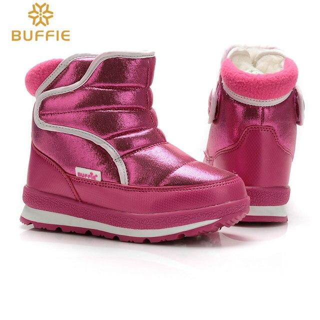 Обувь для девочек зимние сапоги детские непромокаемые Нескользящие смешанные натуральная шерсть цвет фуксия новый стиль короткие сапоги бесплатная доставка