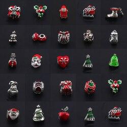 BAOPON 5Pcs/Lot Christmas Wholesale Mix Unique Enamel Christmas Charms Bracelet Pendants Fit DIY Pandora Bracelet For Women