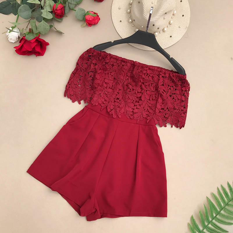 Nicemix Fashion Sexy Floral Lace Short Jumpsuit Women Casual Off Shoulder Gules Black Playsuit Female Summer Elegant Party Romp