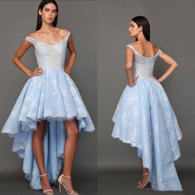8b0494ebfbd Hot Sale Blue Lace V Neck High Low Prom Dresses 2017 Zipper Back Cap  Sleeves Prom Gowns Vestido De Festa Formal Party Gowns
