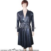 цена на Black Sexy Latex Trench Coats With Belts Pockets Rubber Jacket Robe YF-0027