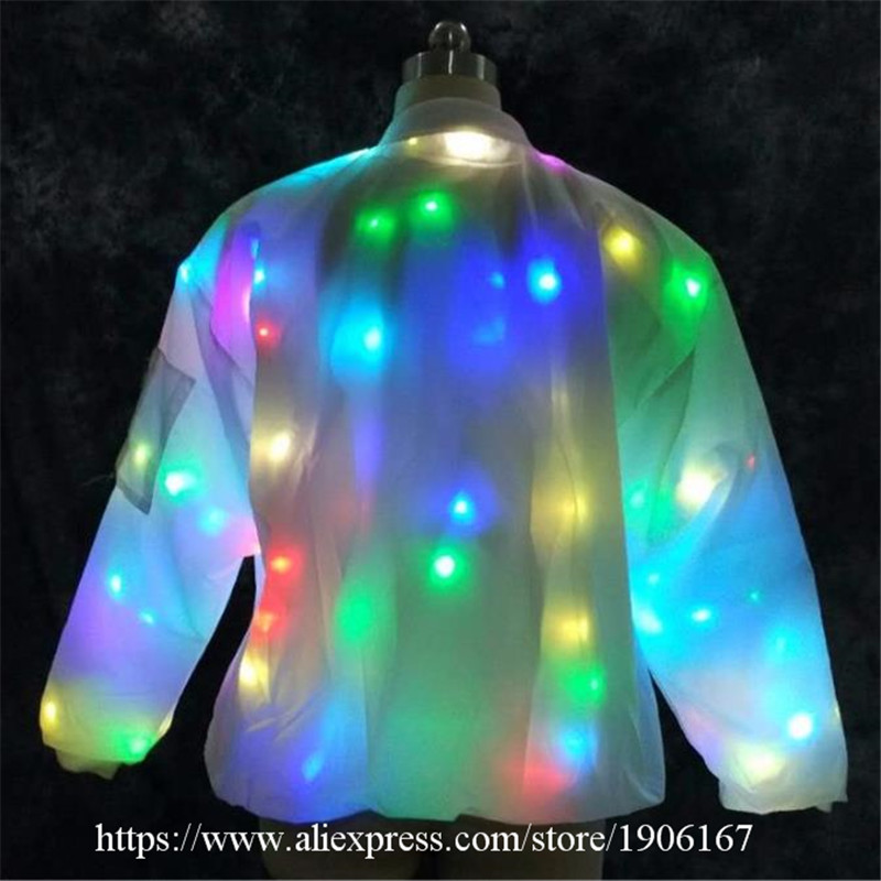 2018 Newest Colorful Led Luminous DJ Clothes Party Dress Flashing Light Up Ballroom Costume Dance Wear