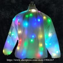 2018 Новые красочные подсветкой DJ одежда вечернее платье мигающий свет Костюмы для бальных танцев костюм Одежда для танцев для Для мужчин LED Костюмы