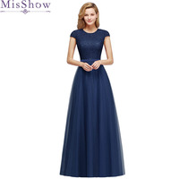 Navy Blue 2019 Mother Of The Bride Dresses A line Scoop neck Tulle Wedding Party Dress Mother Dresses For Wedding With Belt