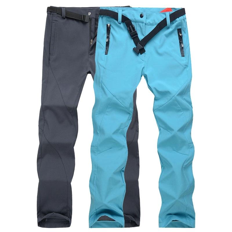 NUONEKO New Winter Waterproof Camping Hiking Pants Women Men Softshell  Fleece Trousers Outdoor Sport Skiing Trekking PM19