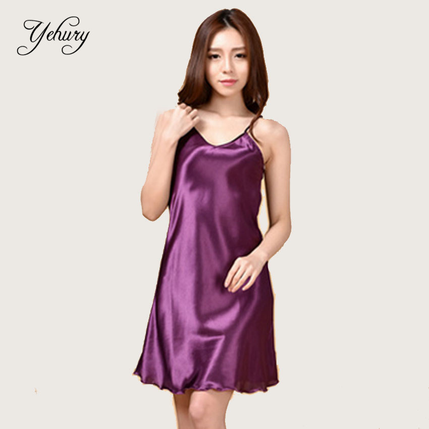 Summer Sexy Plus Size Women Satin Silk Nightdress Chemise -2392