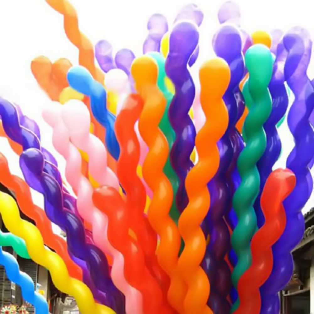 100pcs/lot Screw Twisted Balloon Spiral Long Balloon Wedding Birthday Party Decoration Strip Shape Balloon Home Decor