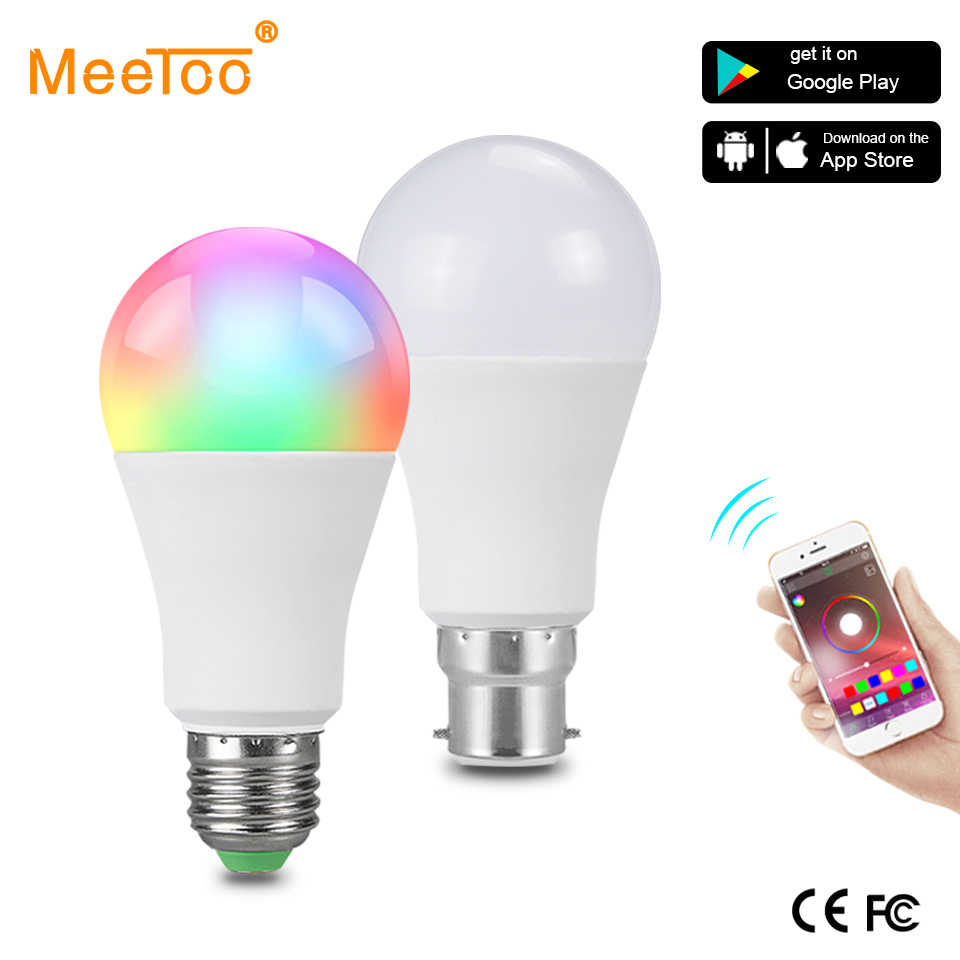 B22 Smart Led Lamp E27 RGBW 15W Bulb Bluetooth 4.0 Smart RGB +White Color Change Dimmable Spotlight AC85-265V Hotel Kitchen Lamp