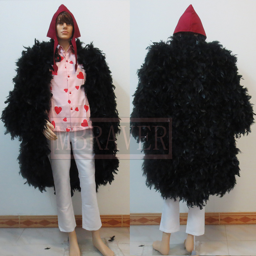 54158bd5ef3 One Piece Donquixote Rosinante Corazon Cosplay Costume Feather Coat +Shirt+Pants+Hat