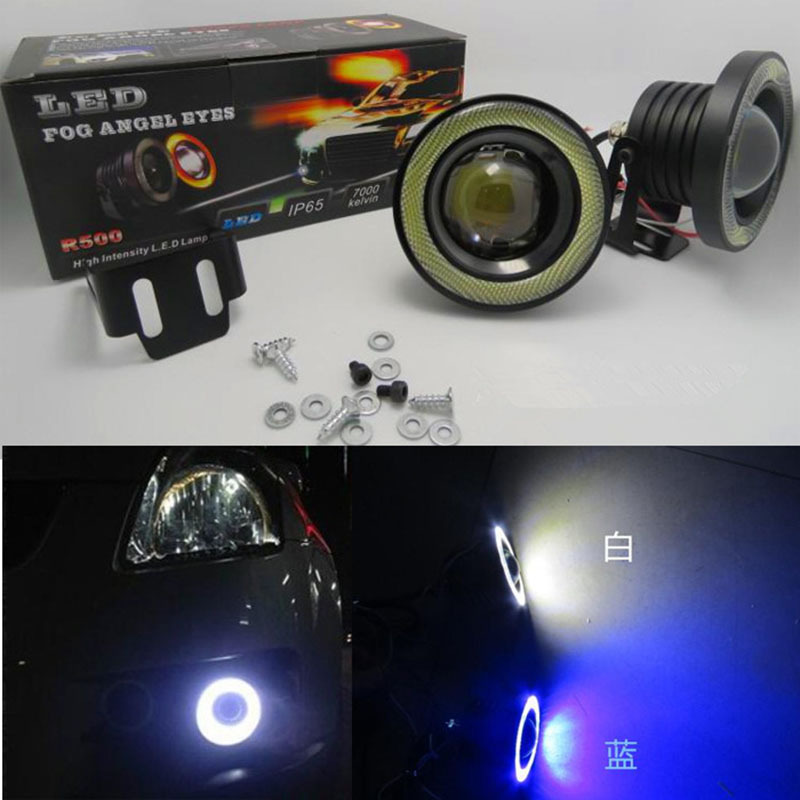 Huiermeimi 2Pcs 12V 30W Car Fog lights Angel Eyes 3200lm Universal Super Bright COB LED Auto Fog Light Head Lamps White Blue Red