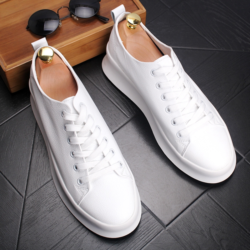 Stephoes New Arrival Men Fashion Casual Loafers Summer Leather Thick Bottom Low Top Breathable White Shoes Male Trend Sneakers