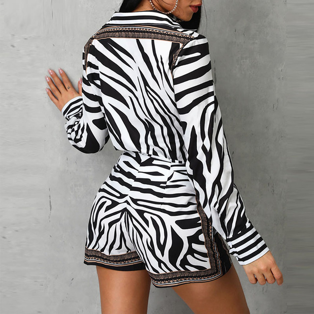 Women Zebra Print Buttoned Shirt & Zipper Short Sets Full Casual Single Breasted Turn-down Collar Shirt Above Knee Mini Short 3