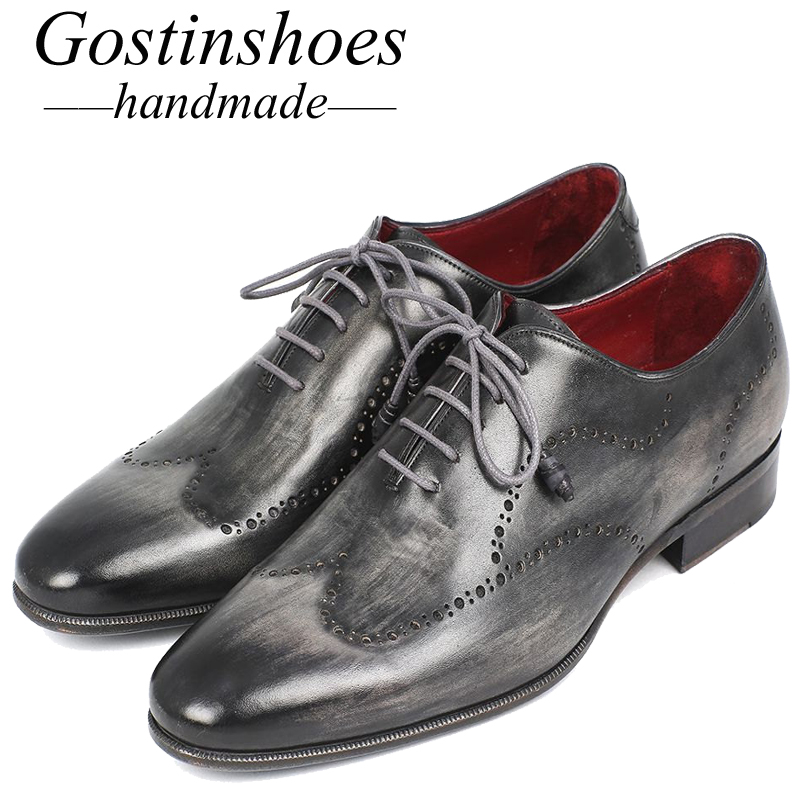 GOSTINSHOES HANDMADE Goodyear Welted Mens Dress Brogue Oxfords Wingtip Gray & Black Hand-painted Calfskin Pointed Toe SCZ012GOSTINSHOES HANDMADE Goodyear Welted Mens Dress Brogue Oxfords Wingtip Gray & Black Hand-painted Calfskin Pointed Toe SCZ012