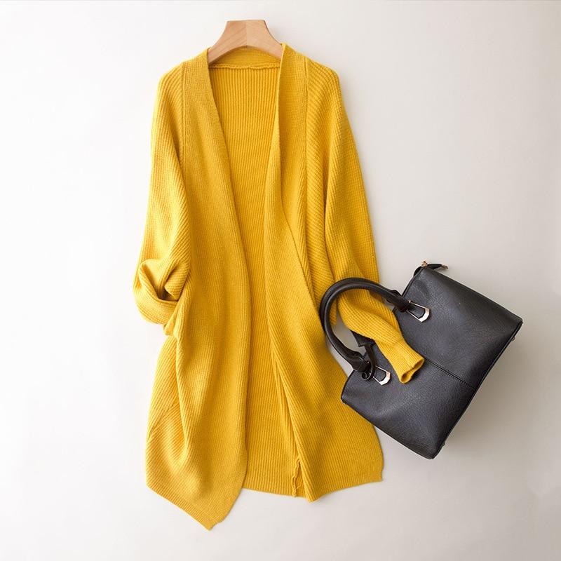 Female Cardigan Yellow Long Sleeves Women's Cardigans Ladies ...