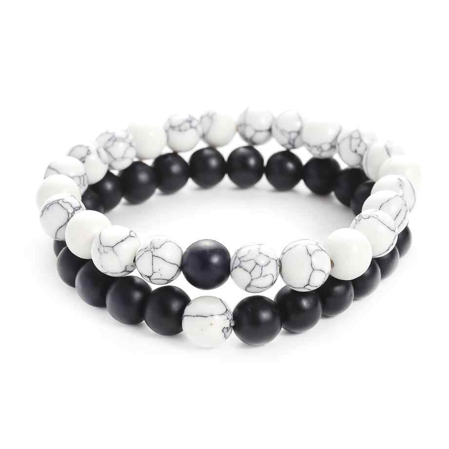Hot 2Pcs/Set Couples Distance Bracelet Classic Natural Stone White and Black Yin Yang Beaded Bracelets for Men Women Best Friend