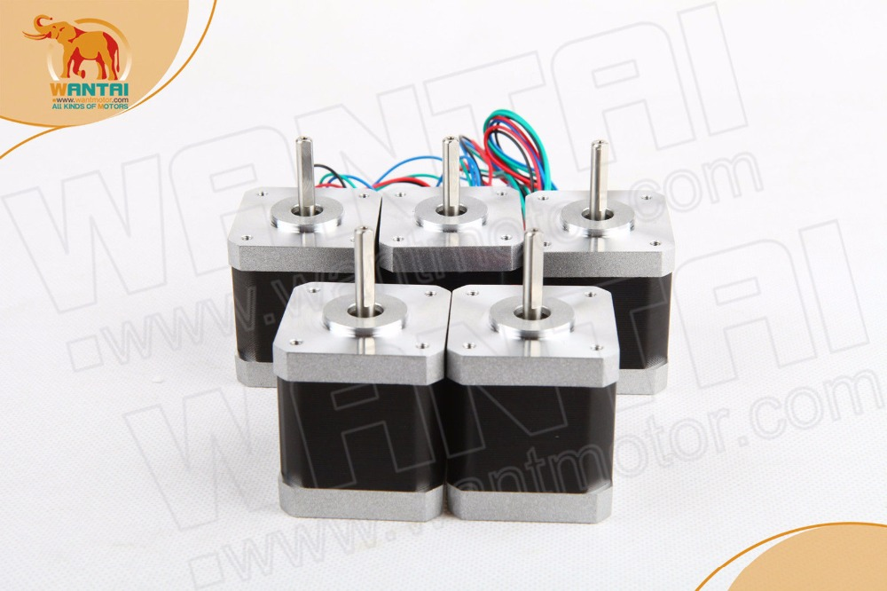 цена на [5-7days ship]EU free!(Germany Stock) 5 PCS Wantai 4-lead Nema 17 Stepper Motor 42BYGHW609 56oz-in 40mm 1.7A3D Printer bipolar