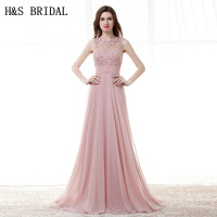 H&S BRIDAL Lace Applique Chiffon long evening gowns Sheer Neck Backless Evening Dress Pink Party Dress Custom Made Prom Dresses