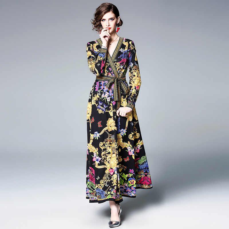 HAMALIEL элегантное женское длинное платье с цветочным принтом, новая мода 2019, подиум, спиральный галстук, бант, бохо, макси платье, сексуальные вечерние платья с v-образным вырезом