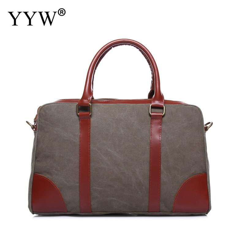 Vintage Canvas Unisex Handbags Camel Tote Bag for Men Dark Blue Women Top-Handle Bags with PU Leather Gray Male Crossbody Bag