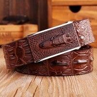 2018 brand new fashion crocodile smooth buckle genuine leather belt coffee mens belts luxury cowboys waist strap size 125cm