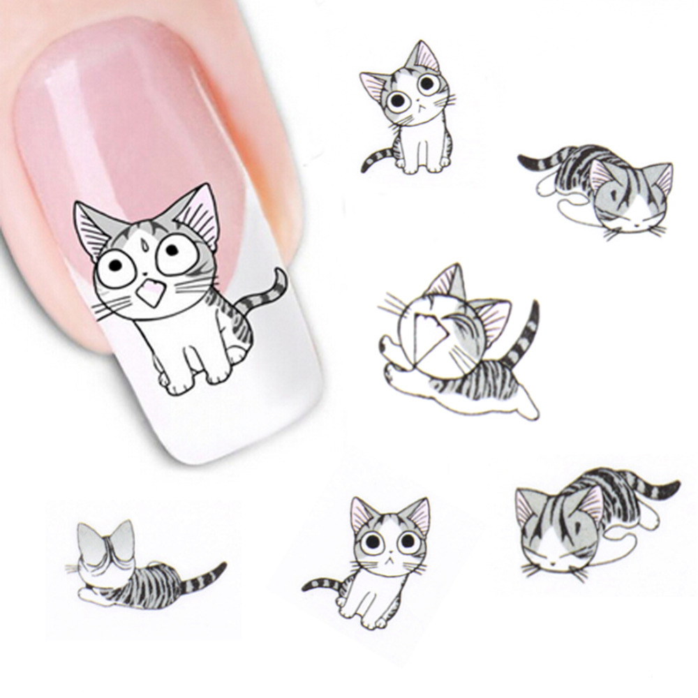 Fashion Lovely Sweet Water Transfer 3D Grey Cute Cat Pets Pattern Nail Sticker Full Wraps Manicure Decal DIY Nail Art Sticker