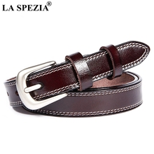 LA SPEZIA Vintage Women Belt For Jeans Real Leather Pin Ladies Classic Coffee Genuine Cowhide Female Brand Belts