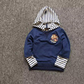 Baby Boy's Bear Long Sleeve Stripped Hooded Sweatershirt Kid's Pullover Hoodies