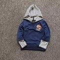 Bebé Oso del Muchacho Despojado de Manga Larga Con Capucha Sweatershirt Pullover Hoodies del Cabrito