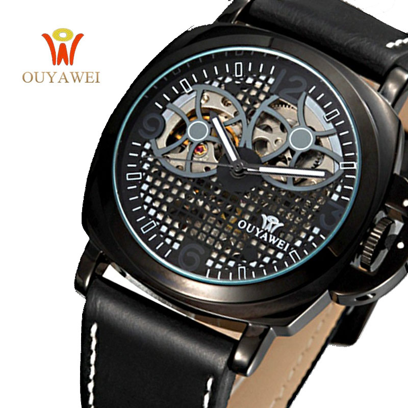 OUYAWEI Military Style Men Watch Fashion Luxury Brand Automatic Mechanical Watches Black Leather Clock With Skeleton Dial tevise fashion auto date automatic self wind watches stainless steel luxury gold black watch men mechanical t629a with tool