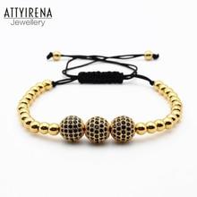 ATTYIRENA Men Bracelets Gold Color Beads& Micro Pave Black CZ Beads Anil Arjandas Briading Macrame Bracelet Women Men Jewelry