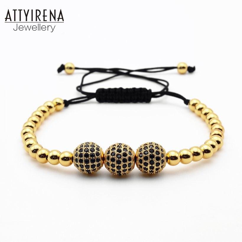 ATTYIRENA Men Bracelets Gold Color Beadss