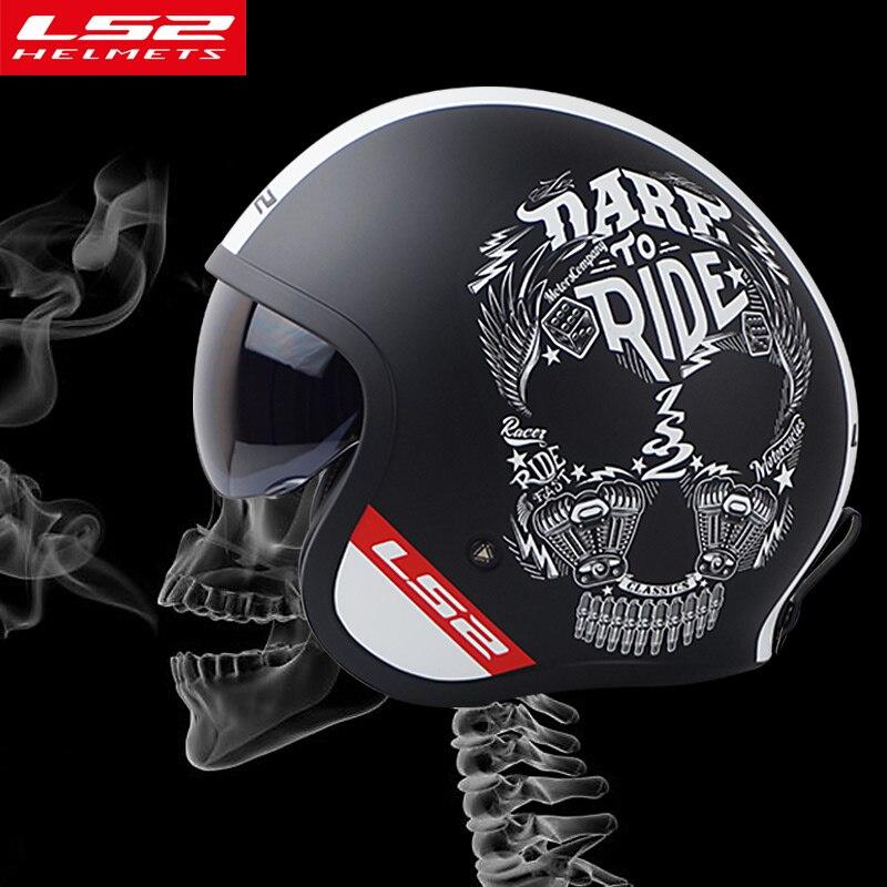 LS2 Of599 casque de Morctocycle visage ouvert personnalité homme Vintage casque de moto Halley est livré avec des casques vespa de mode bouclier solaire