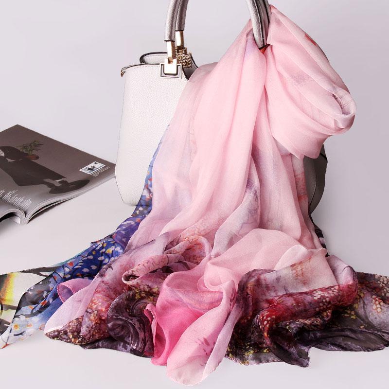 Women 100 Pure Silk Scarf 2019 Luxury Brand Print Shawls and Wraps for Ladies Print Pashmina
