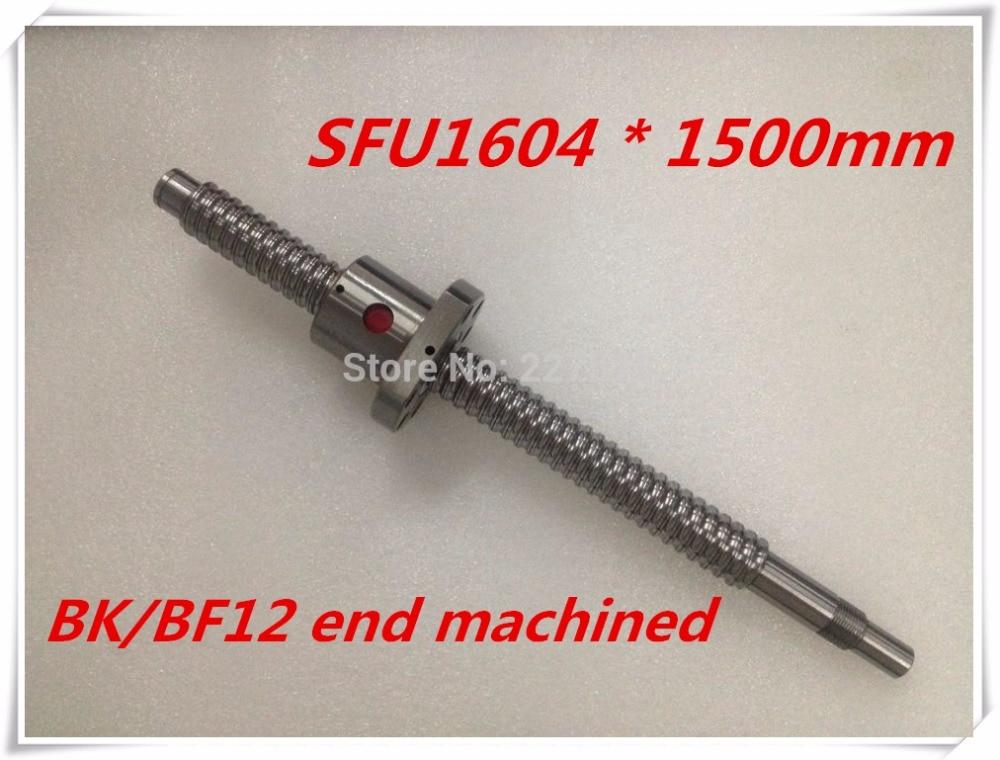 SFU1604 1500mm Ball Screw Set : 1 pc ball screw RM1604 1500mm+1pc SFU1604 ball nut cnc part standard end machined for BK/BF12 sfu1604 800mm ball screw rm1604 l800mm rolled ball screw 1pc sfu1604 ball nut 1pc cnc parts carving machine accessories