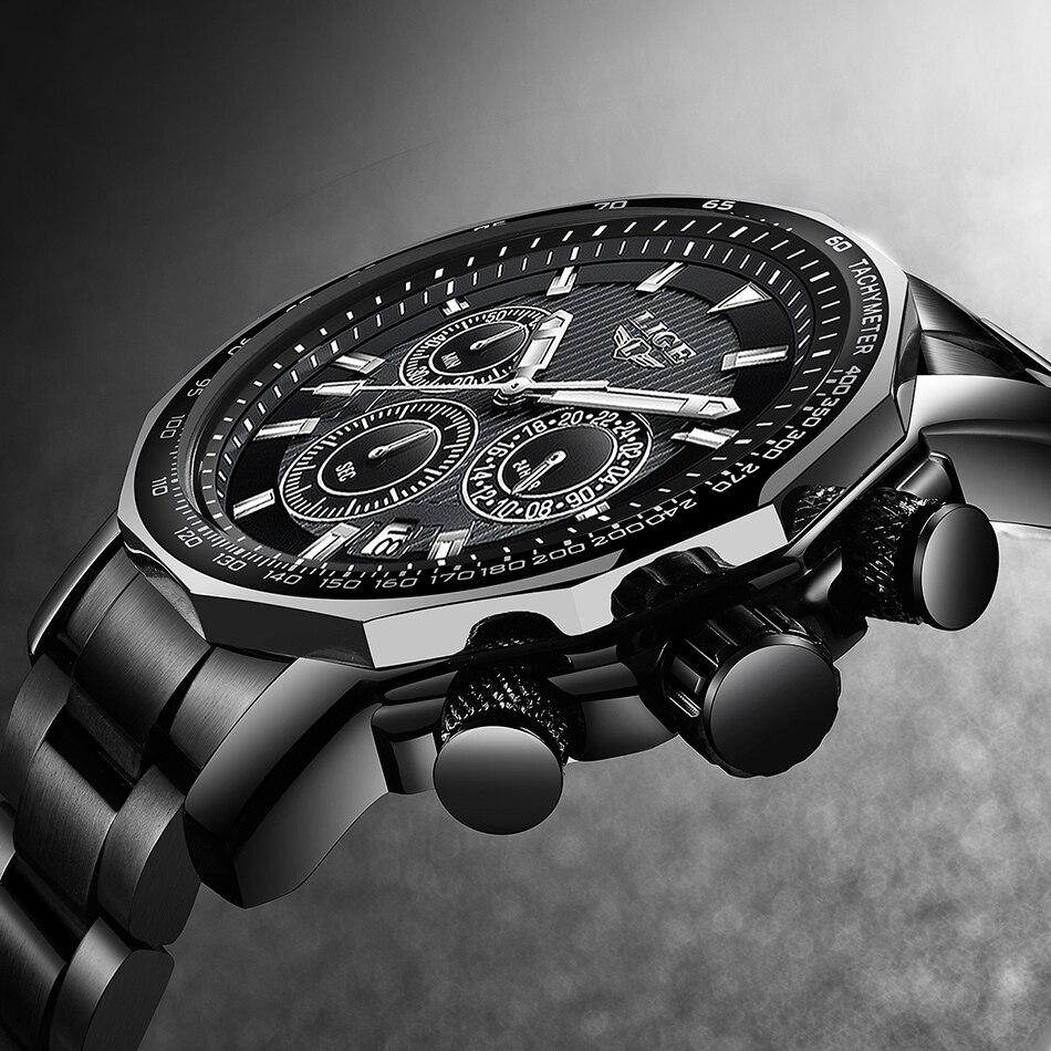 2019 New LIGE Mens Watches Top Brand Luxury Men's Waterproof All Steel Sports Watch Men Military Quartz Clock Relogio Masculino