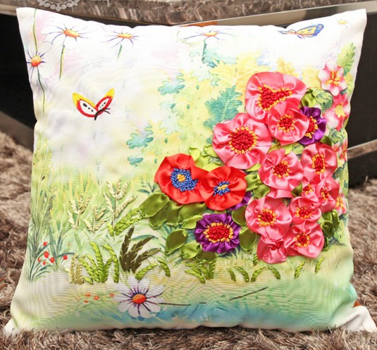 Diy Pillowcase Set: 3D lover flowers Ribbon embroidery pillow cushion cover core inner    ,
