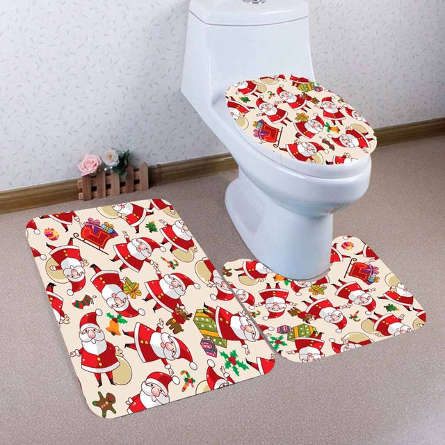3pcs a set home christmas toilet seat cover pvc foot pad seat cover bathroom sets colorful