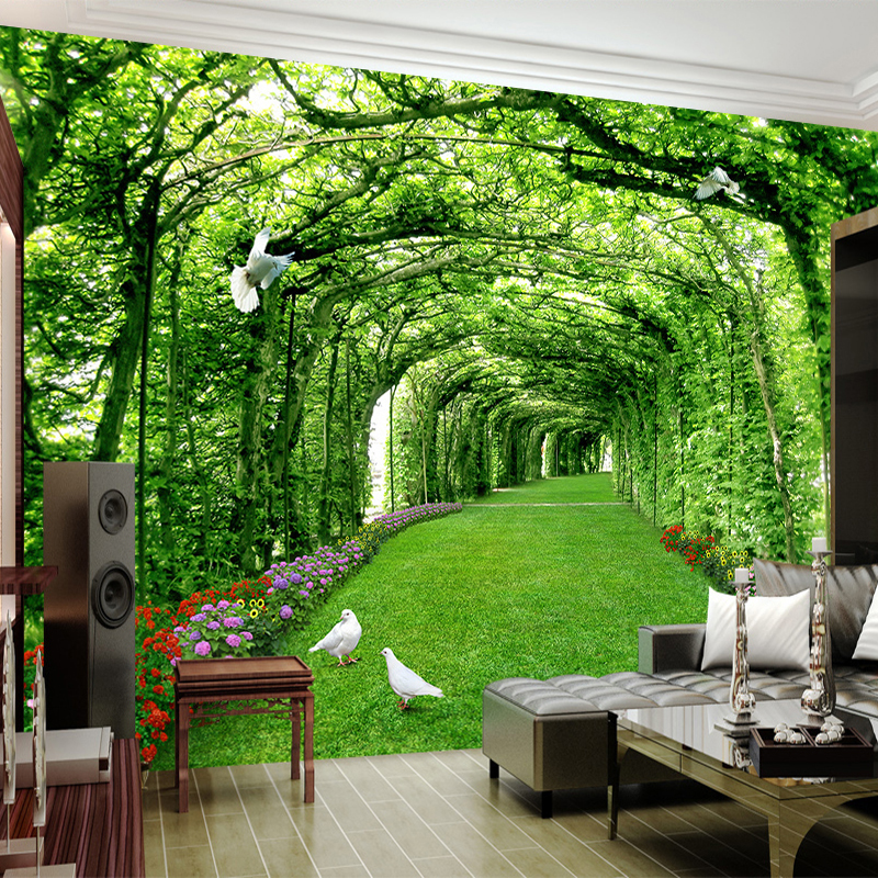 Custom 3D Photo Wallpaper Murals Green Tree Lawn 3D Space Wall Papers Home Decor Living Room DIY Self-adhesive Mural Sticker