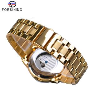 Image 5 - Forsining Automatic Self Wind Male Watch Golden Dial Stainless Steel Casual Moonphase Gold Mechanical Tourbillon Men Clock Reloj