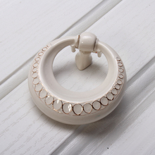 Lvory White Drop Ring Dresser knobs Drawer Pulls Rustic Kitchen Cabinet Handle Door Furniture Hardware