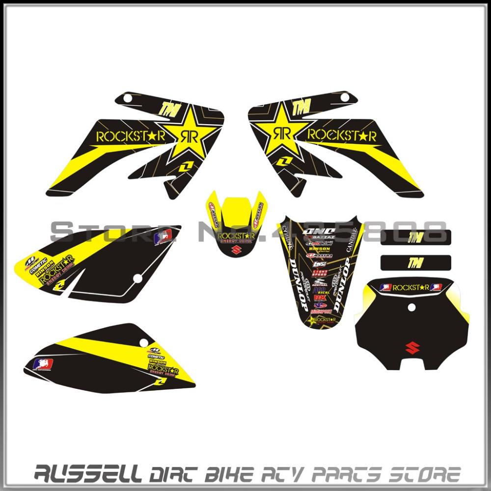 Bike sticker design online - 3m Crf70 Graphics Kit Rockstar Decals Sticker For Honda Moto Dirt Pit Bike Parts Crf70 Yellow Black