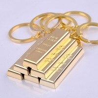 20 100pcs Fake Gold Bar Pendants Key Ring Fashion Metal Chaveiro Keychain Llaveros For Women Men