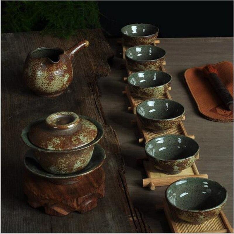 Vintage Style Gongfu Tea Set Chinese Teapot Teacups Gaiwan Tea Set Ceramic Coffee Tea Service Drinkware