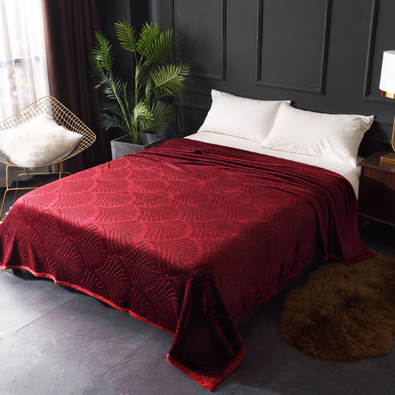 Image 5 - Embossed Coral Fleece Flannel Blankets For Beds 300GSM 8 Solid Summer Throw Winter Sofa Cover Bedspread Warm Blankets-in Blankets from Home & Garden