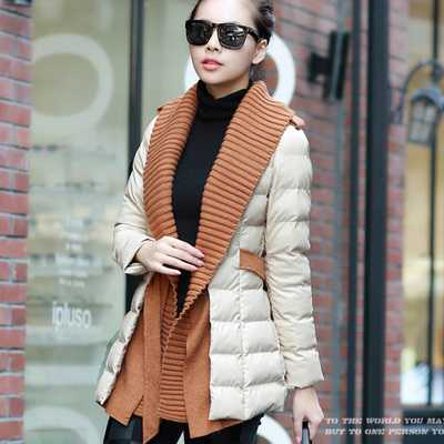 ФОТО New Arrival Fashion Elegant Casual Splice Knitting Mid-Long Pu Outwears Cardigan With Belt Long Sleeves Femal Women Coat H5785