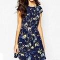 2016 Summer Женщины Vintage Печатных Платье Дамы Повседневная Коротким Рукавом Эластичный Пояс Мини Линия Платье Vestidos Плюс Размер