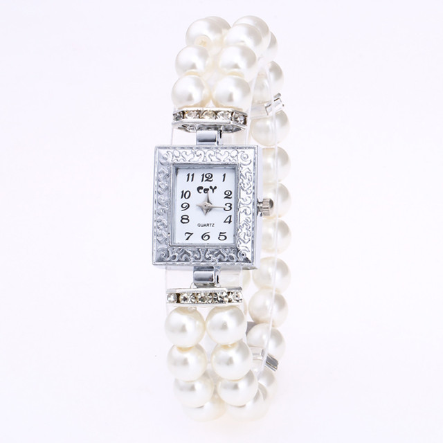 Luxury Pearl Bracelet Watches Women Ladies Fashion Crystal Dress Quartz Wristwat