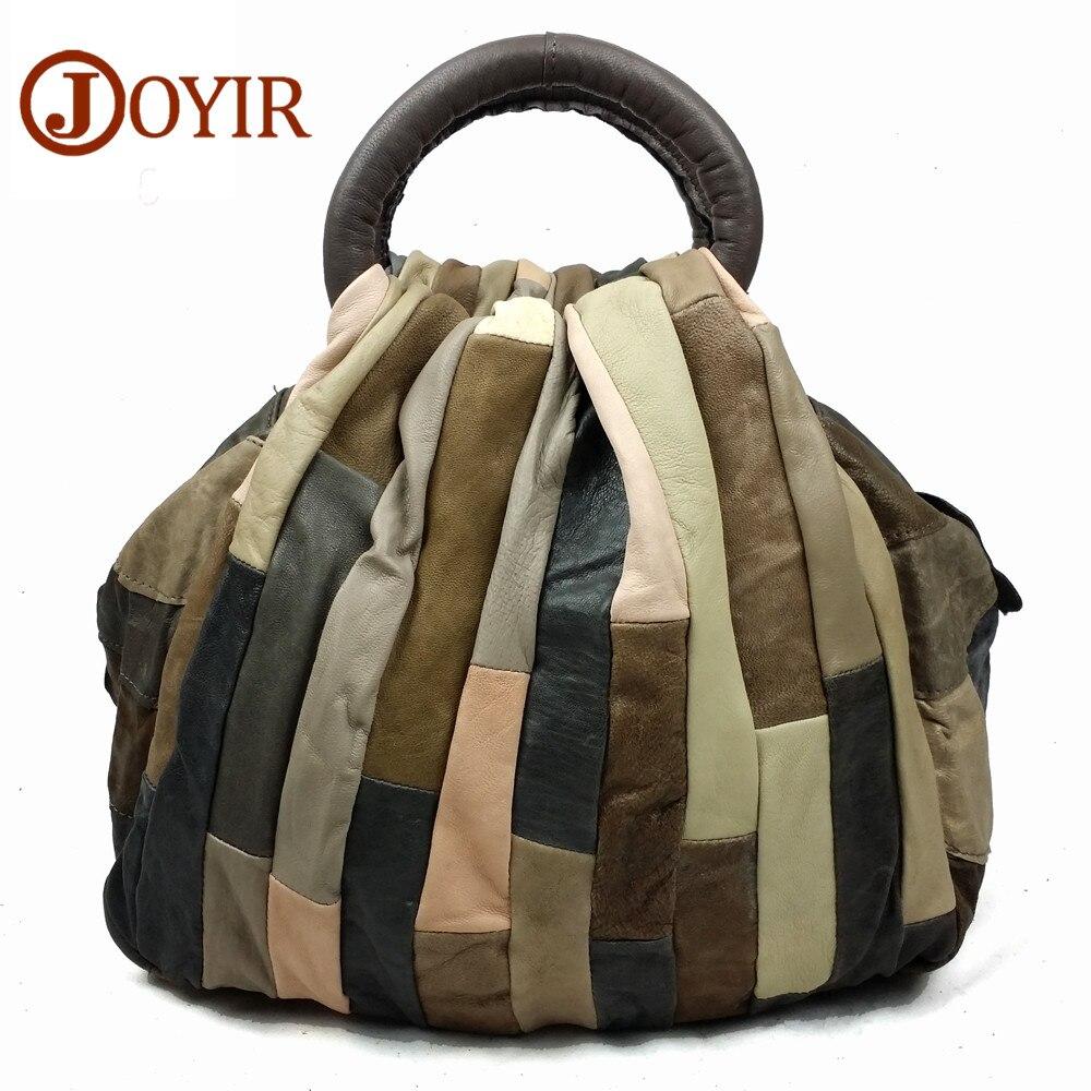 JOYIR sacs à main femme sacoches en cuir véritable sac à main haute couture Femelle patchwork vintage Femmes Sac À Main de Mode sac de messager 9417