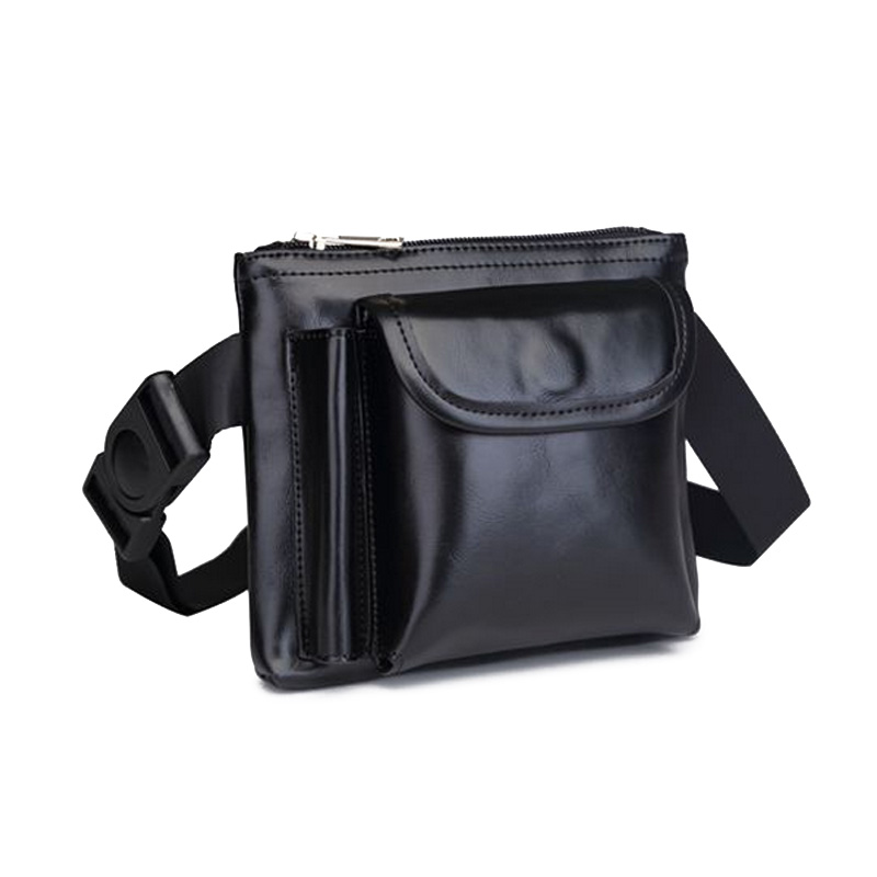 2017 Waist Bags Unisex Solid PU Leather Bags For Sales Waiters Hasp Zipper Purses For Phone Pen Pouch Adjusted Belt Waist Packs