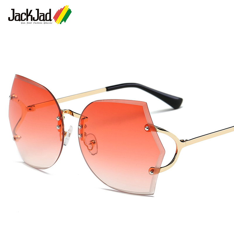 JackJad 2017 New Rimless Gradient Sunglasses Women Transparent Brand Design Lady Female Sun Glasses UV400 Metal